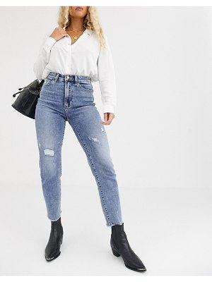 Stradivarius slim mom jean with stretch and rip detail in light blue