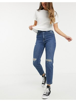 Stradivarius slim mom jeans with stretch and rip detail in medium blue