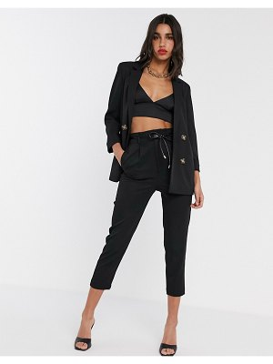 Stradivarius slouchy tailored pants with faux leather belt in black