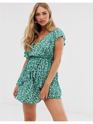 Stradivarius str ditsy floral frill detail mini dress in green
