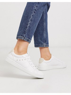 Stradivarius stud side sneakers in white