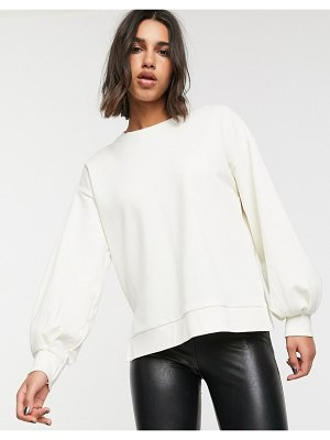 Stradivarius sweatshirt with ballon sleeves in ecru-white