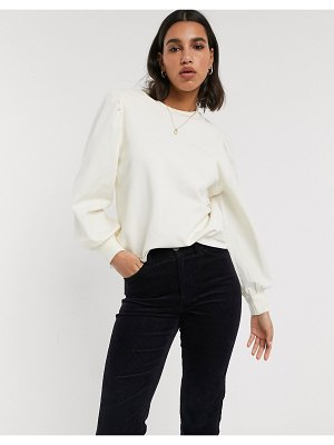 Stradivarius sweatshirt with poplin sleeves in ecru-white