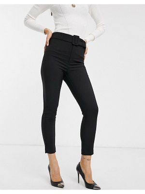 Stradivarius tailored pants with belt in black