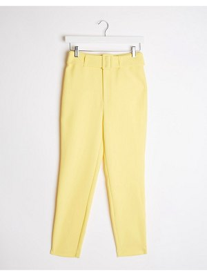 Stradivarius tailored pants with belt in yellow