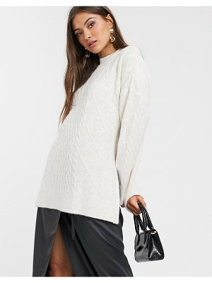 Stradivarius tunic braid sweater in white