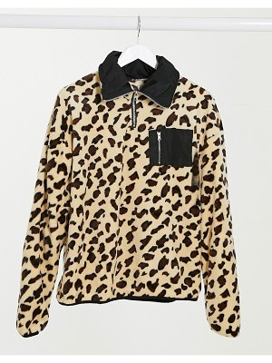 Street Collective oversized borg half zip fleece in leopard print-multi