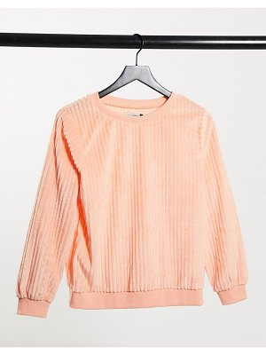 Street Collective oversized cord sweater in peach-orange