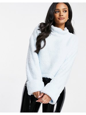 Street Collective oversized high neck borg fleece with elasticated waist in blue