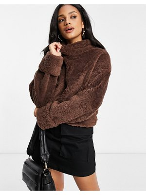 Street Collective oversized high neck teddy fleece with elasticated waist in chocolate-brown