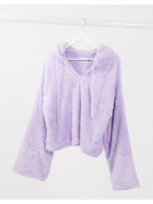 Street Collective oversized teddy hoodie in lilac-purple