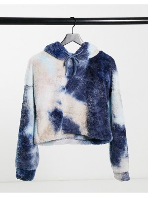 Street Collective teddy fleece hoodie in gray tie-dye-multi