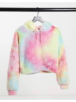 Street Collective teddy fleece hoodie in multi tie-dye