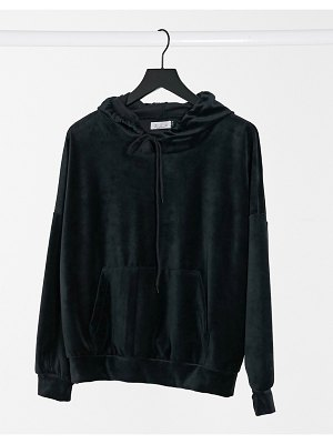 Street Collective velour oversized hoodie in black