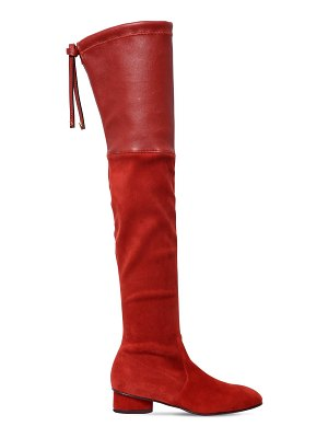 Stuart Weitzman 30mm helena stretch suede & leather boot