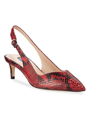 Stuart Weitzman Edith Python-Print Leather Slingback Pumps