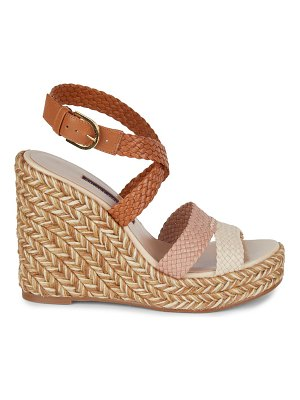 Stuart Weitzman Elsie Leather Espadrille Wedge Sandals