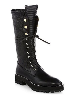 Stuart Weitzman elspeth lace-up leather knee-high combat boots