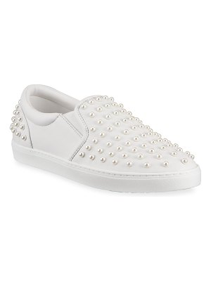 Stuart Weitzman Goldie Pearly Leather Slip-On Sneakers