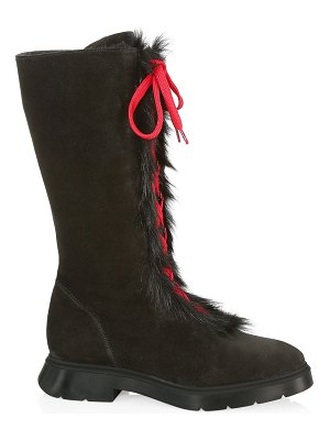Stuart Weitzman gwendy shearling-lined suede lace-up knee-high boots