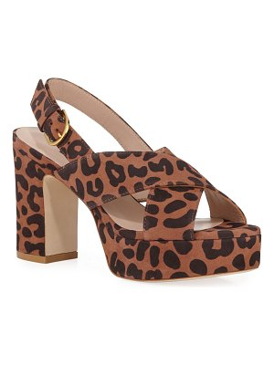 Stuart Weitzman Jerry Cheetah Suede Sandals