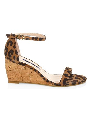Stuart Weitzman nearlynude leopard-print leather & cork wedges