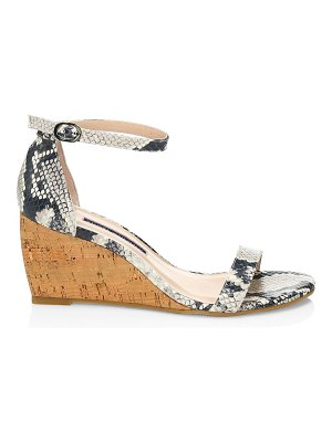 Stuart Weitzman nearlynude snakeskin-embossed leather & cork wedges