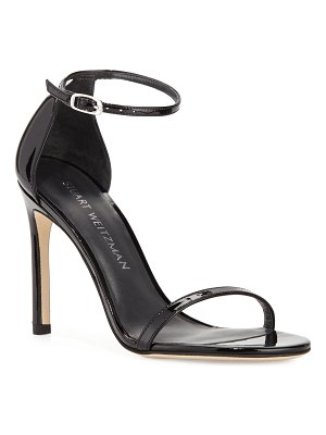 Stuart Weitzman Nudistsong Patent Ankle-Wrap Sandals