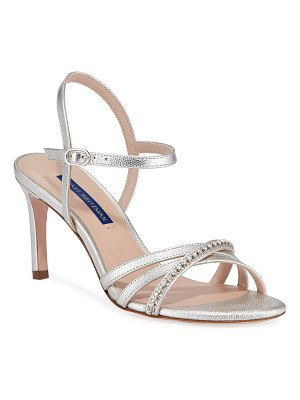 Stuart Weitzman Oriana 75 Crystal-Strap Patent Leather Sandals