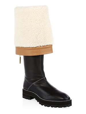 Stuart Weitzman renata shearling-lined leather knee-high boots