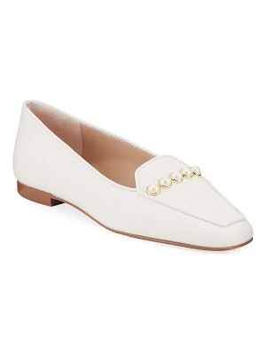 Stuart Weitzman Rosie Pearly-Studded Leather Flat Loafers