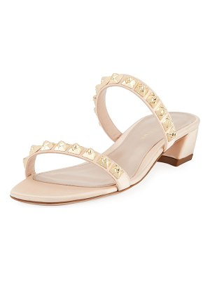 Stuart Weitzman Stella Studded Two-Band Block-Heel Sandal