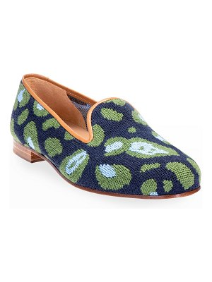 Stubbs and Wootton Felix Leopard-Print Needlepoint Smoking Loafers