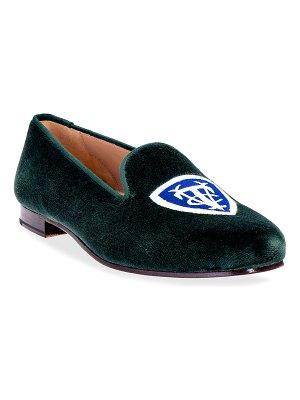 Stubbs and Wootton Vedado Tennis Club Logo Embroidered Velvet Smoking Loafers