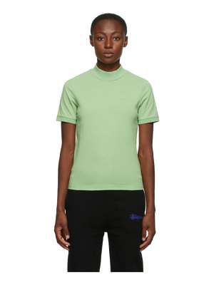Stussy green embroidered mock neck t-shirt
