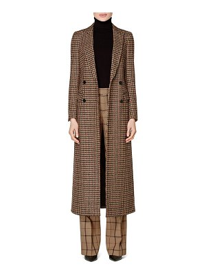 SUISTUDIO anna houndstooth long double breasted wool blend coat