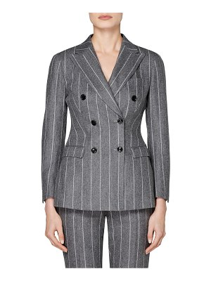 SUISTUDIO cameron chalk stripe double breasted wool jacket