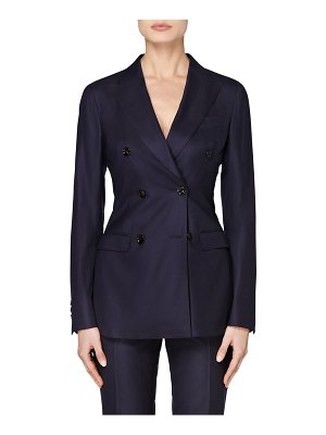 SUISTUDIO cameron double breasted wool & cashmere suit jacket