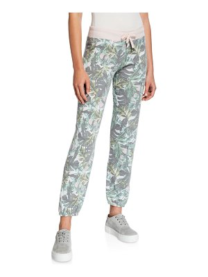 Sundry Palm-Print Basic Sweatpants