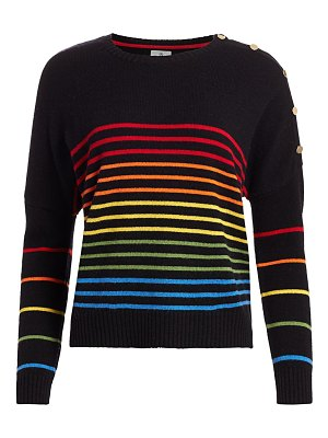 Sundry rainbow stripe button wool & cashmere sweater