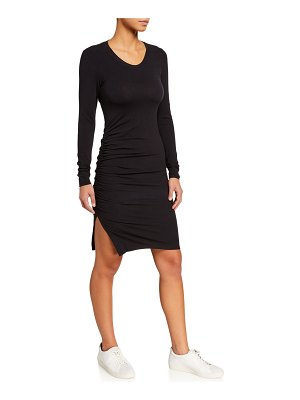 Sundry Ruched Long-Sleeve Scoop-Neck Dress