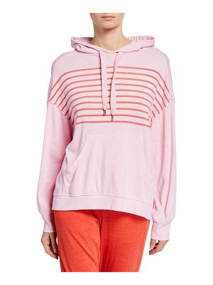Sundry Striped-Chest Vintage Pullover Hoodie