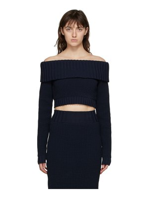 Sunnei navy off-the-shoulder band sweater