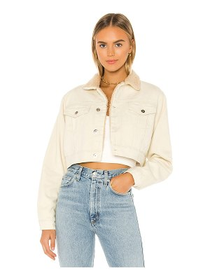 superdown madena cropped sherpa jacket. - size l (also
