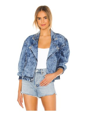 superdown rumi denim moto jacket. - size l (also