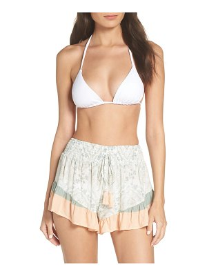 Surf Gypsy print stripe ruffle cover-up shorts