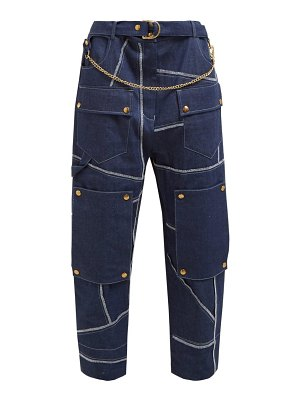 Symonds Pearmain belted high rise denim utility trousers
