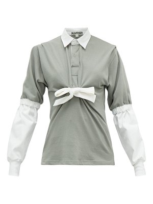 Symonds Pearmain contrast-sleeve tie-front cotton-jersey rugby top