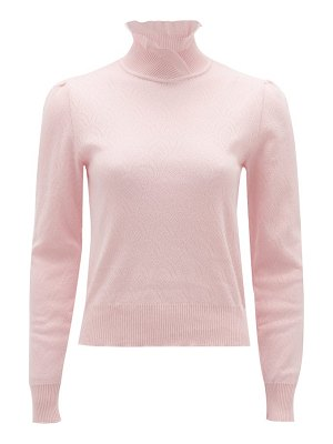 Symonds Pearmain ruffled-neck pointelle-knitted cotton sweater