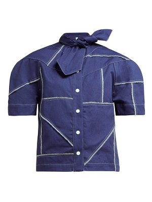 Symonds Pearmain tie neck denim shirt